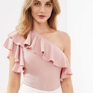 🆕SHEIN❇ Pink Flounce One Shoulder Bodysuit